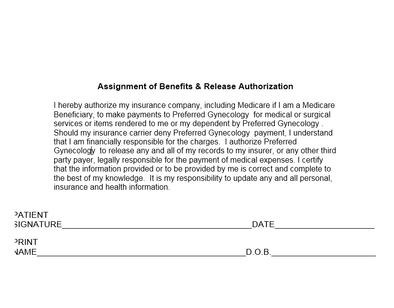 Assignment of benefits form insurance for Assignment of benefits form template